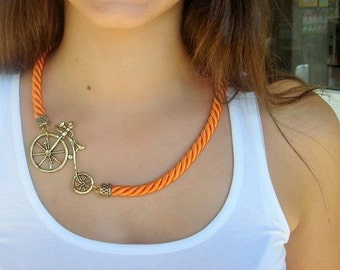 Rope Statement Necklace whit Bike Pendant