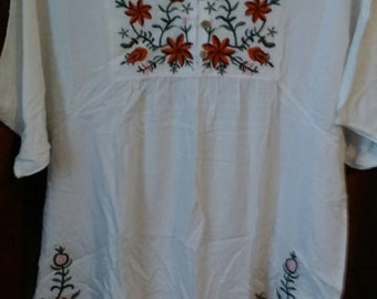 Gorgeous Vintage 70's embroidered flower power hippie tunic top/dress