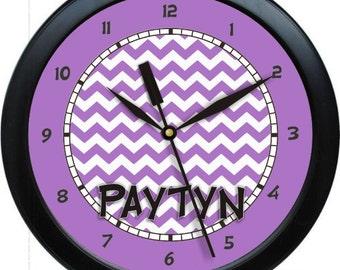 "Purple Chevron 10"" Wall Clock Personalized Girls Room Decor Gift"