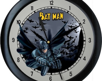 "Batman 10"" Wall Clock Personalized Boys Room Decor Wall Art Gift"