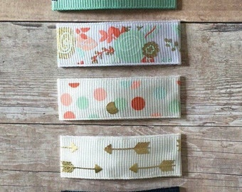 Set of 5 ribbon lined hair clips