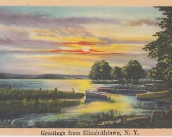 Elizabethtown, New York Vintage Postcard - Greetings from Elizabethtown
