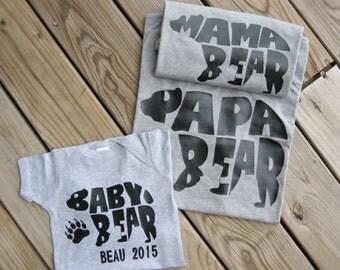 Mama Bear Papa Bear Baby Bear Shirts, Mama Bear, Personalized Baby, Baby Shower, Mommy and Me, Matching Family Shirts, Mama Bear Baby Bear
