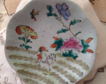 Antique Chi'ng Dynasty/Republic Chinese Footed Condiment Dish Undulating Rim Hand Painted Enamel Decoration Chicken Florals Mark Red China