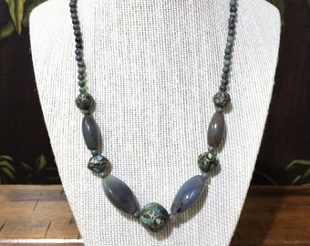 Gray Agate and Nepal Turquoise Inlay Bead Necklace.