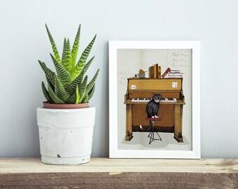 Piano Cat // A4 Print