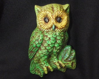 60s  Lime Green Owl, Hand Painted, Neon 3-D Owl, Vintage Repainted Mod Antiqued Owl