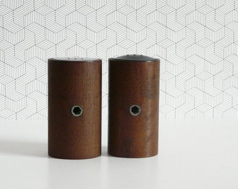 Vintage cylindrical teak salt and pepper shakers