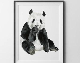 Panda  print. Nursery wall art