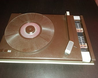 Former turntable record player THOMSON vintage beige (year 1970)