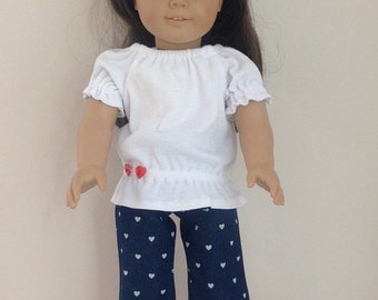 American Girl Doll Clothes 18 Inch Doll Clothes  American Girl Doll Jeans American Girl Clothes White Knit Shirt and Jeans