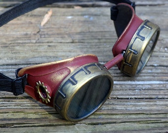 Maroon and Gold STEAMPUNK GOGGLES with Gold Gears, Great for Halloween, Cosplay Costume, Birthday Gift or Post Apocalypse Sandstorm