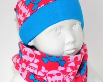"Loop + Hat set ""girly skulls"" Jersey"