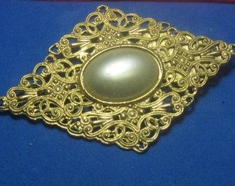 VINTAGE Antique Brooch Large White Jewel