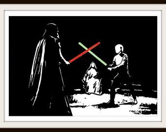 Star Wars Black and White Print - Free Shipping - Limited Edition - Darth Vader vs Luke Skywalker