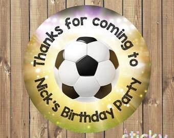 Personalized Birthday Party Stickers, Birthday Party Labels, Birthday Party Tags, Football Stickers, Soccer Stickers, Party Favour Stickers