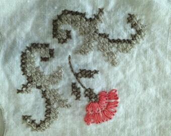 Vintage linen napkins with handstitched detail