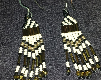 Black, Gold and Cream Earrings