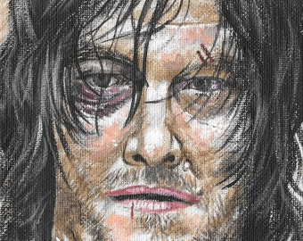 Acrylic painting of Daryl Dixon from The Walking Dead, as played by Norman Reedus.