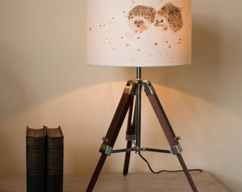Tripod Table Lamp with hand painted Hedgehogs
