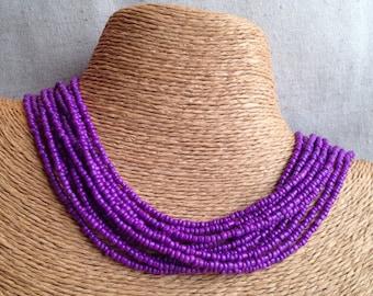 Purple beaded necklace, purple seedbead multi-strand necklace, purple bridesmaids, purple necklace, violet necklace, purple multistrand
