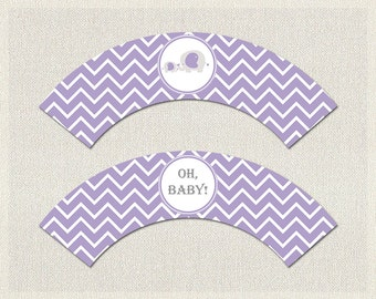 Purple Gray Elephant Theme Baby Shower | Cupcake Wrappers | Girls Baby  Shower Decorations PDF Printable Girl Instant Download BS 10