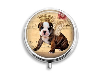 Royal Pet Bulldog Pill Box, Pill Case, Pill Container, Mints Case, Trinkets Box, Jewelry Box (P009)