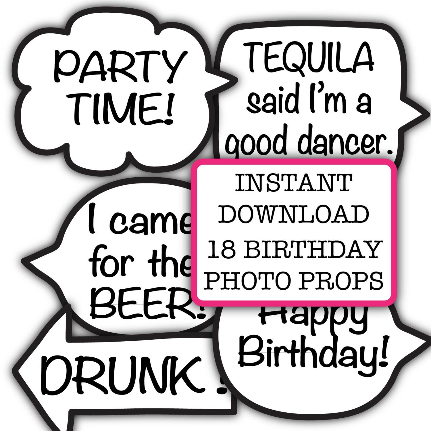 photo prop ideas for adults - Funny Birthday Party Booth Props INSTANT Download Adult