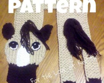 Original loom knit pony scarf *pattern only*