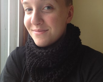 Black loom knitted cowl scarf