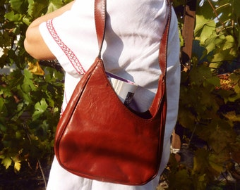 Leather bag, Shoulder bag, Brown leather handbag, Cinnamon brown bag, Rusty brown bag, brown shoulder bag