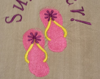 Summer Flip Flops Embroidered Kitchen Towel