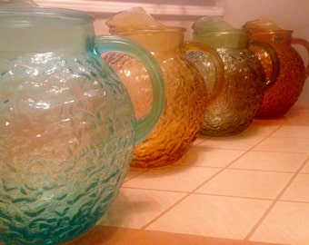 Choice - Anchor Hocking Lido Milano Glass Bubble/Bark Texture Pitchers - Aquamarine, Avocado, Desert Gold, Honey Gold