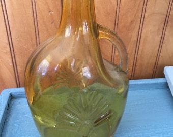 Amber Bottle, Flower Vase, Vintage Vase, Amber Olive Oil Jar, Amber Novelty Item, Salad Dressing Bottle