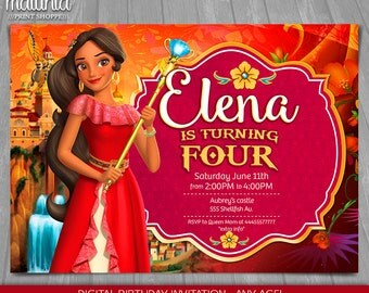 Elena of Avalor Invitation - Disney Princess Elena Invite - Elena of Avalor Birthday Invitation - Disney Princess Elena Birthday Party