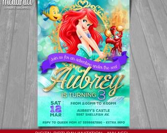 The Little Mermaid Invitation - Disney Ariel Invite - Little Mermaid Birthday Invitation - Disney Princess Ariel Birthday Party