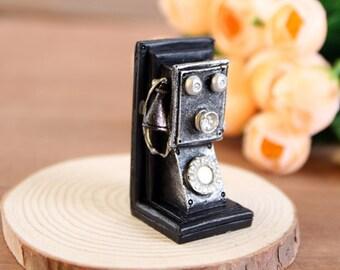 Miniature Vintage telephone, Doll house Retro Old phone Figurine, Classic Accessories Dollhouse decoration
