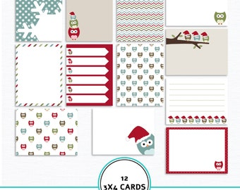 Christmas owls journaling cards, digital pocket cards, project life cards, Christmas journal cards, digital journal cards, Owls journal card