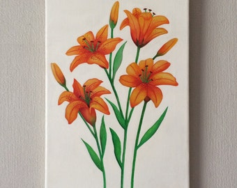 Original watercolour and acrylic painting on canvas of tiger lillies.