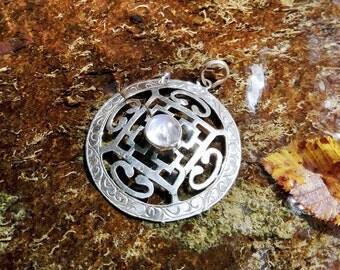 Mandala pendant and silver ring 925 and Moonstone