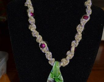 Flower Pendant Hemp Necklace