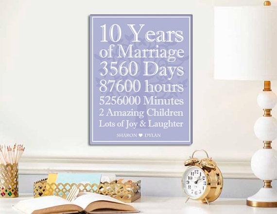 10 Years Wedding Anniversary Gift: 10 Year Anniversary Canvas Print 10 Anniversary Gift