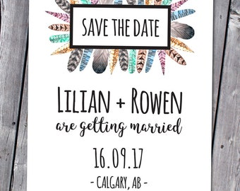 Printable Feathers Save the Date, Tribal Save the Date, Feathers Save the Date, Tribal Feathers, Boho Save the Date, Boho Wedding Invitation