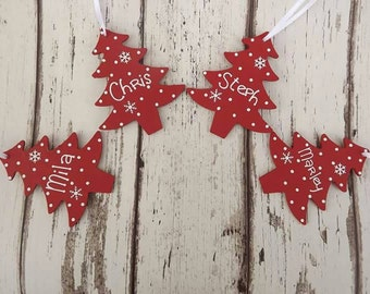 Personalised Christmas tree hanging decorations
