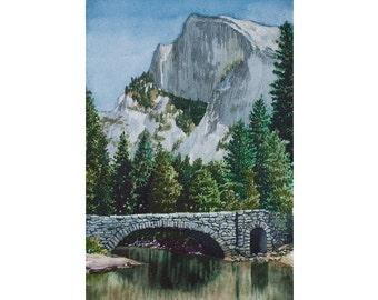 Watercolor Original - Yosemite - Half Dome from the Stoneman Bridge
