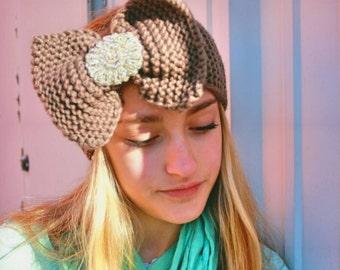 Knitted bow earwarmer headband, crochet headband, turban headband, earwarmer headband, headband w/ rhinestones, knitted earwarmer, headband