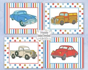 Printable Antique Vintage Retro Old Cars Trucks Nursery Wall Art Decor Baby Child Kids Boy ~ DIY Instant Download ~ 4 8x10 Prints