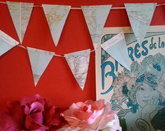 Bunting made from vintage maps and ribbon world travel altas