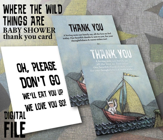 where the wild things are theme baby shower thank you card