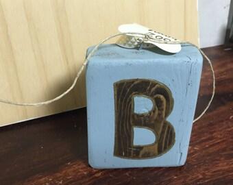 B letter ornament wood
